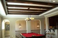 Ceiling beams running crosswise