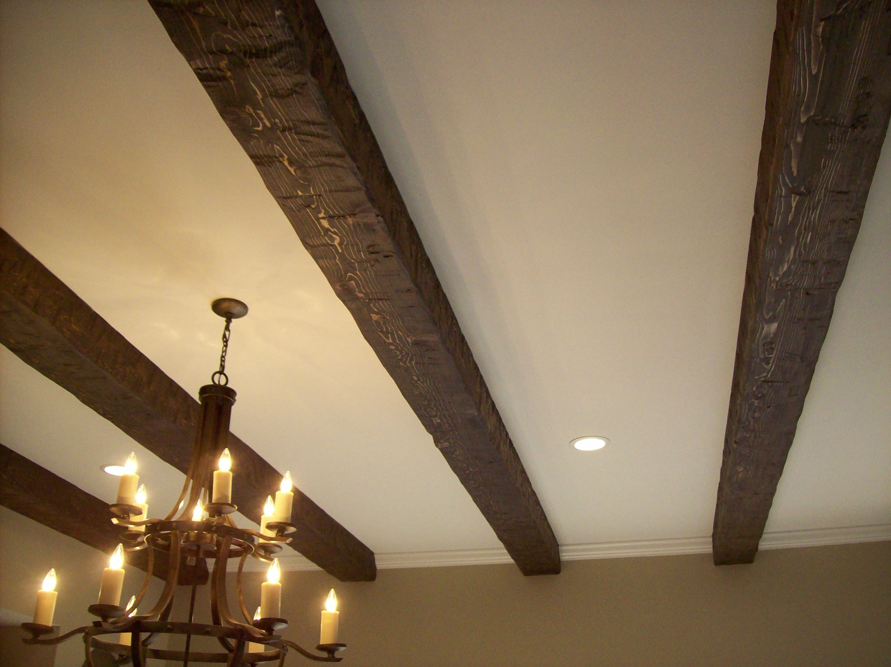 beams stained pin faux ceiling