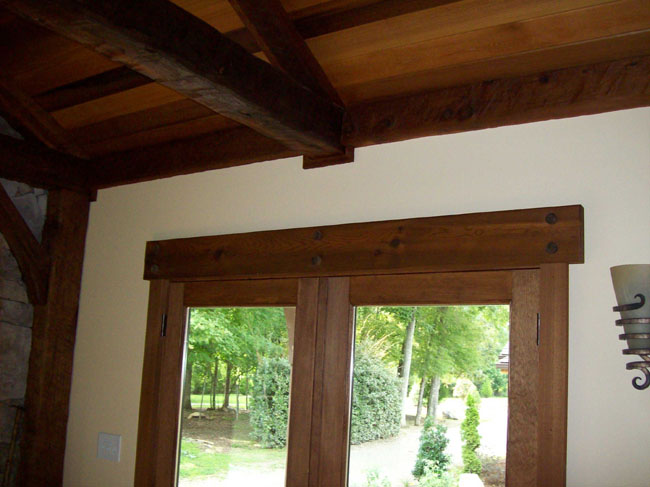 Wood header and beam timber window headers timber door for Interior window crossheads