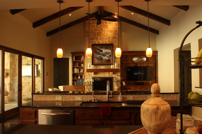 The wood box beams on this ceiling define the ceiling in this great room.