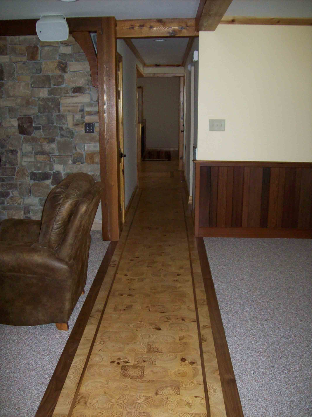 This wood tile floor is a great way to add uniqueness to your home.