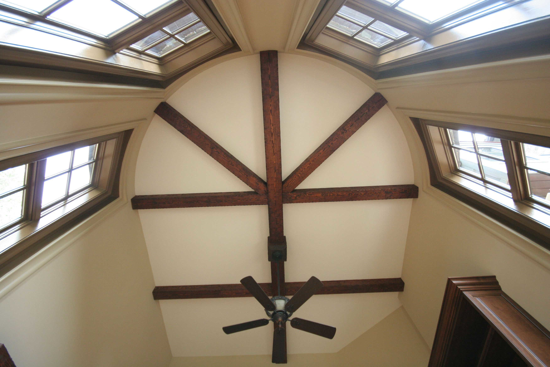 The wood box beam design on this ceiling adds uniqueness to this home.