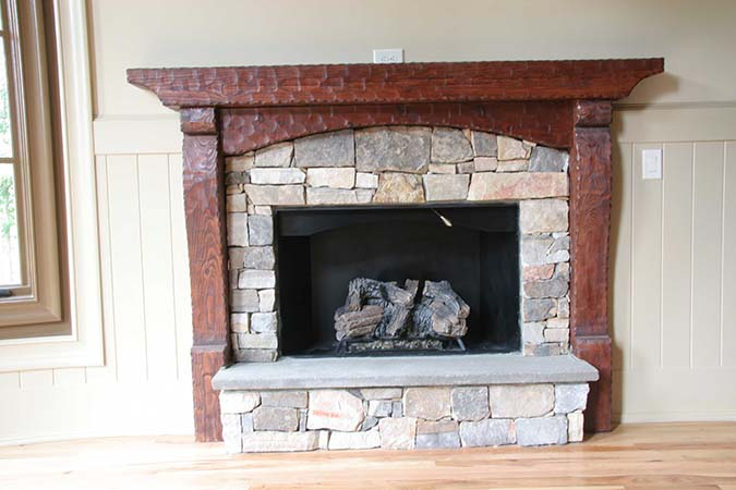 Rustic mantel with historic timber texture