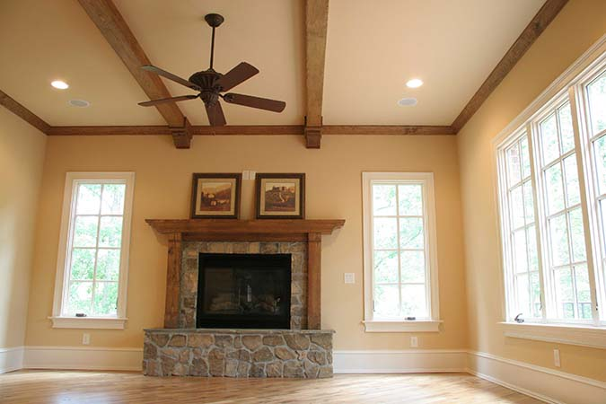 Rustic mantel shown with optional legs